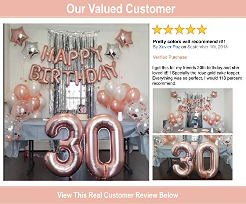 30th Birthday Decorations For Her Party Supplies Rose Gold Confetti Balloon Dirty Thirty 30 Cake Topper Silver Foil Curtain