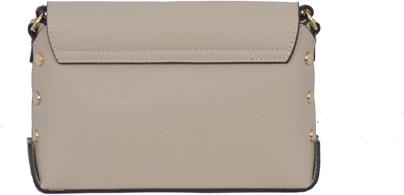 A to Z Leather Umhängetasche mit Nieten aus echtem Leder/Umhängetasche/verstellbarer Schultergurt Beige
