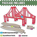FLASH SALE   Double Suspension Bridge - Deluxe Wooden Toy Accessories For Kids Toddler Boys Girls - Compatible with Thomas Trains Railway, Brio Tracks, and Major Brands. 2x Red Bridges