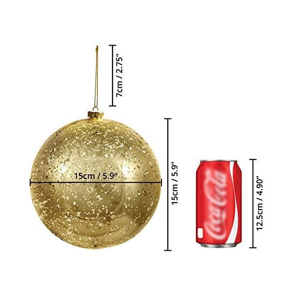 Palline di Natale Oro (Set da 2) - Palle di Natale Oro Grandi 15cm con Corda - Decorazioni Albero di Natale Oro in Plastica Infrangibile - Palline di Natale Dorate per Albero - Decorazioni Natalizie 2 spesavip