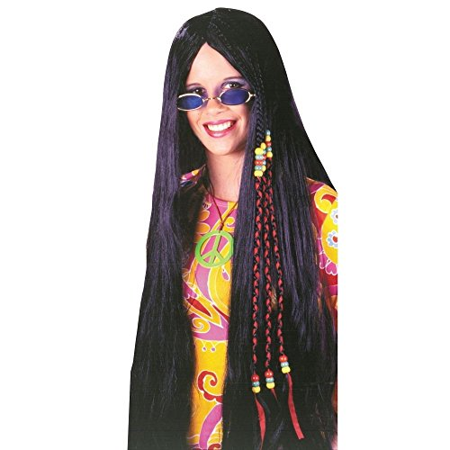 Hippie Long Black Hair Wig (Fun World Women's Wig Braided Hippie Accessory, -black, Standard)