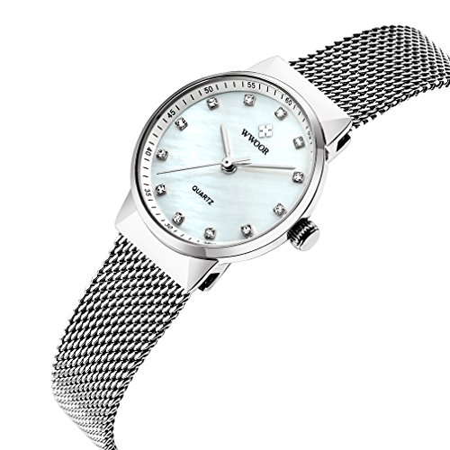 Wwoor women watches dress ladies crystal quartz watch women dress stainless straps clock WR-8825 (white) (Dress Crystal Womens Watch)