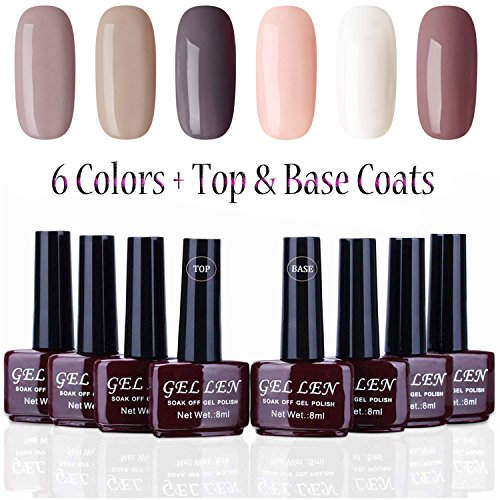 Gelllen Gel Nail Polish Set - 6 Colors With Top Coat Base Co