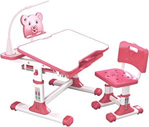 S SMAUTOP Children Desk and Chair Set, Adjustable Children's Study Desk and Chair with Tilting Table Top,Bookshelf, Metal Hook and Storage Drawer 80 cm Wide (Pink)