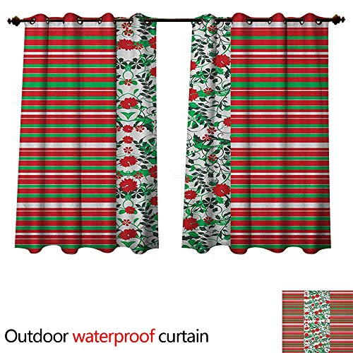 utdoor Curtains for Patio Sheer Poinsettia Flowers Fresh Green Branches Natural Swirls Border on Striped Backdrop W72 x L72(183cm x 183cm) ()