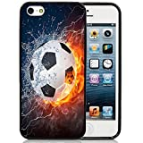 iPhone 5S Case,iPhone 5S Black Case, Dsigo TPU Full Cover Protective Case for New Apple iPhone 5S - Ice and Fire Football