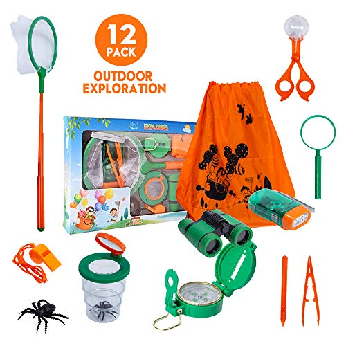 Lehoo Castle Bug Catcher Kit for Kids, Outdoor Exploration Kit for Kids, Children Outdoor Toy for Camping, Binoculars, Flashlight, Compass, Whistle, Magnifying Glass for Bug Catching Toys for Kid (Castle Explorer)