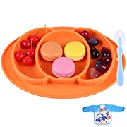 Baby Silicone Placemat - Round Silicone Baby Plate Feeding Mat Strong Suction Plates for Toddlers, Kids, Children to Dining Table, Highchair Tray, Portable Travel Bowl - Waterproof Bib, Spoon(Orange)