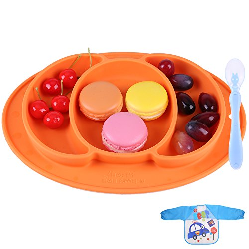 Baby Silicone Placemat - Round Silicone Baby Plate Feeding Mat Strong Suction Plates for Toddlers, Kids, Children to Dining Table, Highchair Tray, Portable Travel Bowl - Waterproof Bib, Spoon(Orange) (Chair Pumpkin)