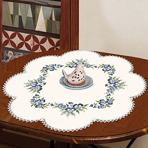 Herrschners® Pansy Wreath Flower Center Table Topper Stamped Embroidery Kit ()