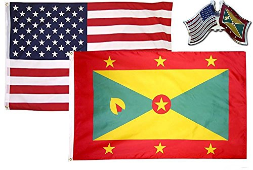 K's Novelties 2 Flag set with Matching Pin USA & Grenada Cou