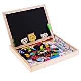 MagiDeal Magnetic Board Puzzle Games Wooden Kids Toy with Double Face Jigsaw& Drawing Easel Chalkboard Cat Pattern