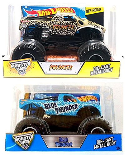 Hot Wheels Monster Jam Collection Pouncer Off-Road & Blue Thunder Truck 1:23 scale model 2-Pack
