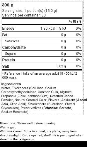 Natural Zero Sirope Chocolate 300 ml: Amazon.es: Salud y cuidado personal