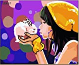 Diy oil painting, paint by number kit- Girl and rabbit 1620 inch.