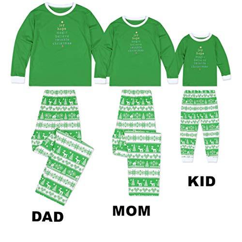 Yefree Verde Pigiama Per bambino Notte Famiglia Abbinamenti 2 Da Homewear Set La Pezzi Genitore Vestito CqCRa