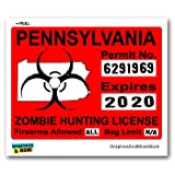 Pennsylvania PA Zombie Hunting License Permit Red - Biohazard Response Team - Window Bumper Locker Sticker