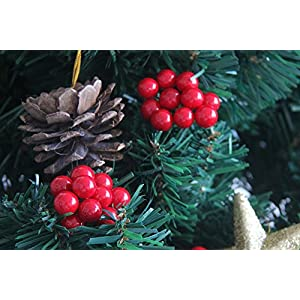 200 Pcs Artificial Small Berries Red Cherry 100 Pcs Fake Green Leaves with 1 Roll Floral Tape for Christmas Tree DIY Gift Decorative 3