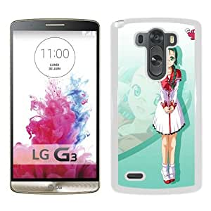 Popular And Unique Designed Cover Case For LG G3 With Anonono Fujimura Ringo Girl Glasses Cat Cute Pose white Phone Case BY supermalls