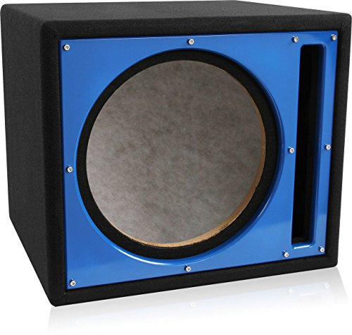 (Belva Professional Grade Custom 12-inch Car Ported Subwoofer Box 3/4-inch MDF Prelined Polyfil Includes Custom Blue Baffle)