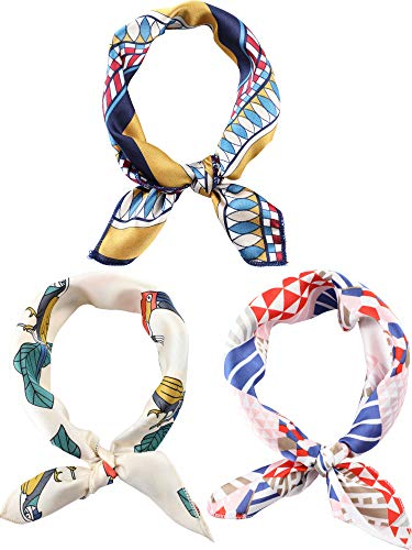 3 Pieces Scarf Square Handkerchief Ribbon Scarf Neck Scarf for Lady Girls Women Decoration (Color Set 9, 20 x 20 Inch)