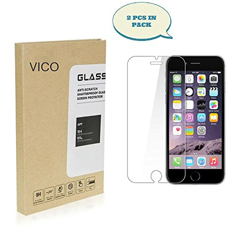 iPhone 7 Plus Tempered Glass Screen Protector [2-Pack], VICO Premium [Anti-Scratch][Anti Shock]Ultra Thin Lightweight 0.3mm[Shatter Proof] 9H Hardness Wet Apple iPhone 7 Plus Clear HD Anti-Bubble