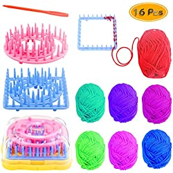 PRALB Weaving Loom Kit, 16PCS Frame Looms, 8 Colors 184 ft. Knitting Wool, Round/Square Knitting Looms Craft Kit Multi Color (Instructions Included)