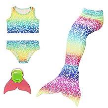 AUIE SAOSA Girls Mermaid Tail Swimsuit Sets Sea-Maid Swimwear Bathing Suit