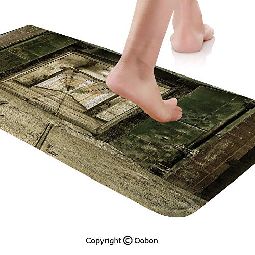 Antique Decor Rug Runner,Old Underground Bunker from Cold War Abandoned Ruined Building Artsy Picture,Plush Door Carpet Floor Kitchen Decor Mat with Non Slip Backing,71 X 24 Inches,Beige Green ()