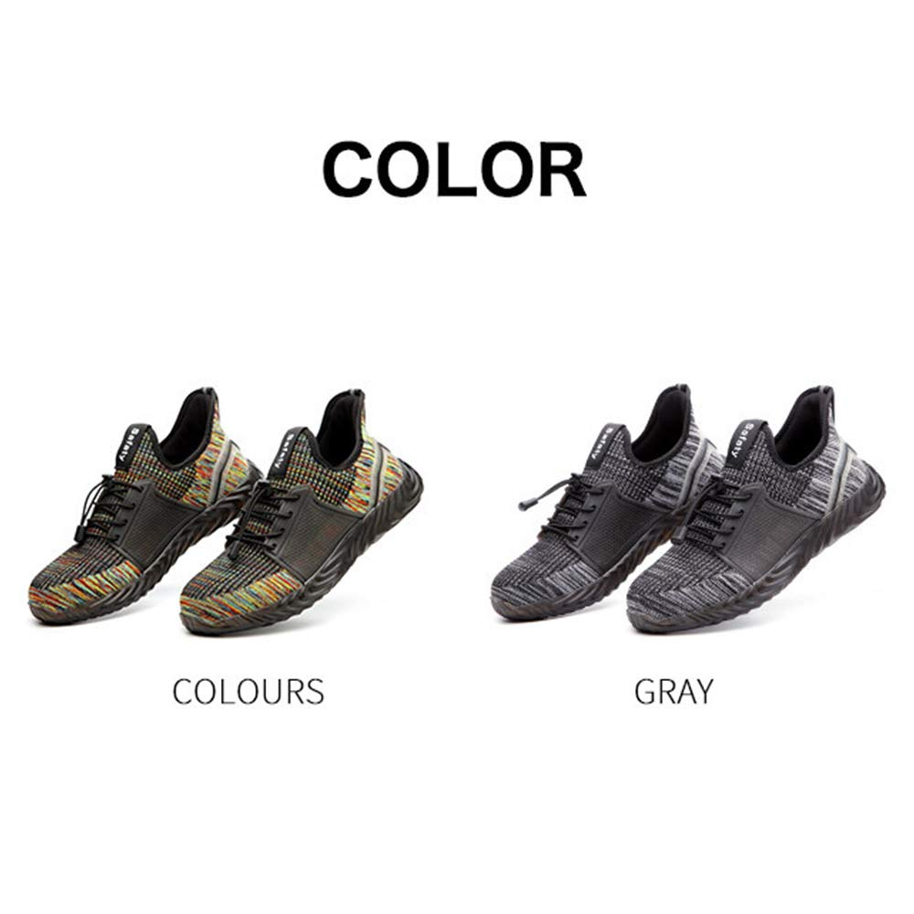 Breathable Puncture Proof Running Sport Trainers Comfortable Steel Toe Caps Safety Shoes for Women Men Lightweight Comfy Work Shoes Sneakers for Construction Industrial