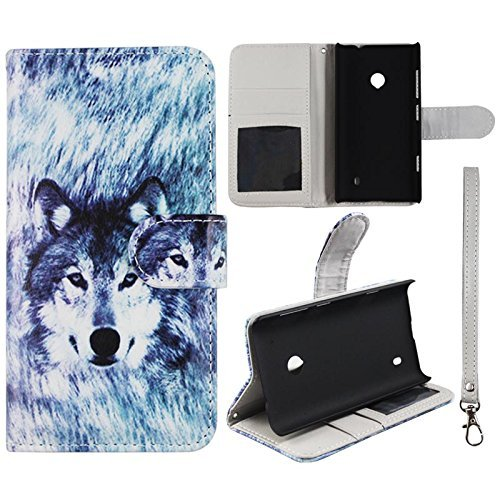 Flip Wallet Snow Wolf Nokia Lumia 520 Leather Pouch With ID Slot Case Cover Hard Case Snap-on Cases Rubberized Touch Protector Faceplates ()