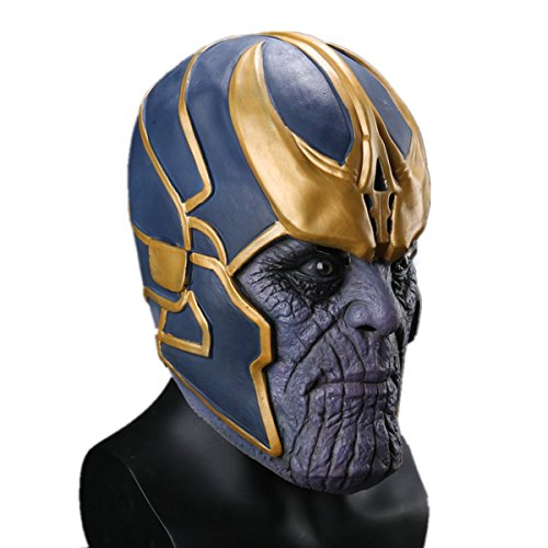 (Thanos Masks Deluxe Cosplay Latex Party Mask Free Size Halloween Props)