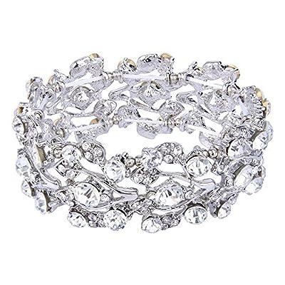 EVER FAITH Bridal Floral Leaf Elastic Bracelet Clear Austrian Crystal