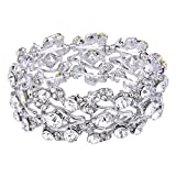 EVER FAITH Bridal Silver-Tone Floral Leaf Elastic Bracelet Clear Austrian Crystal