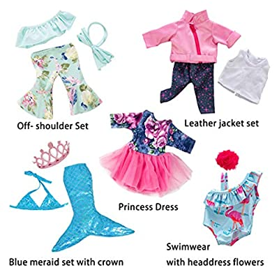 ebuddy 5 Sets Clothes with Popular Elements Horn Style,Flamingo,Leather Jacket,Mermaid for 18 inch American Girl,OG Doll: Toys & Games