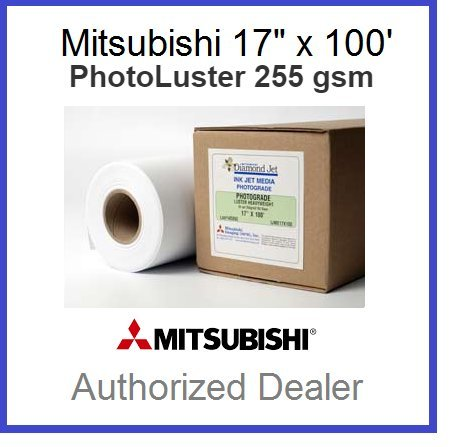 - Premium Inkjet Photo Paper 255 GSM - Luster Finish - roll Size 17 inches x 100 feet. Instant Dry and Water-Resistant (rc Large Format Paper).