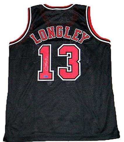 Luc Longley Autographed Jersey - #13 Black Coa - Autographed NBA Jerseys