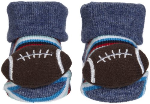 Tic Tac Toe Baby Boys' Football Bootie - Blue/Brown - 6-12 Months