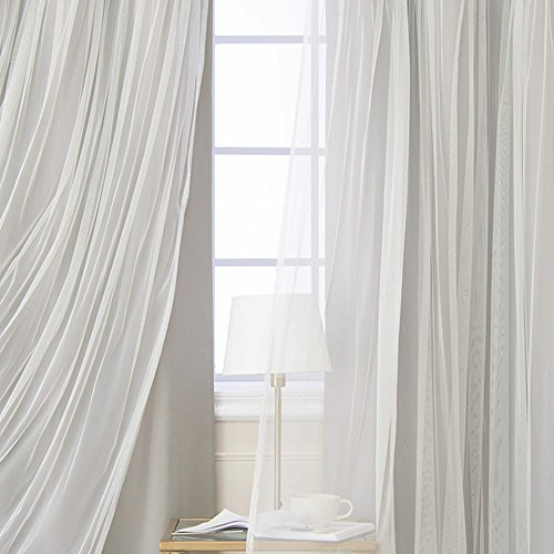 Aurora Home Gathered Tulle Overlay Blackout Curtain Panels (Set of 2) Dove 96 Inches