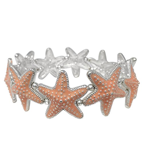 Silver Tone Colorful Epoxy - Colored Starfish Sealife Silver Tone Stretch Bracelet - Assorted colors (Peach)