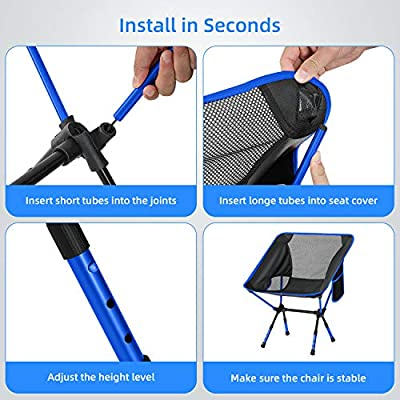 Oudort Backpacking Camping Chair Portable Lightweight Compact Folding Beach Chair (Blue): Kitchen & Dining