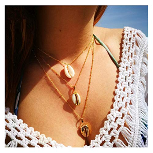 Chain Shell - Artio Layered Necklace Jewelry Shell Pendant Necklace Chain for Women and Girls NK040