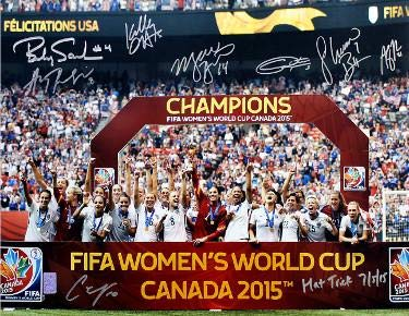 2015 World Cup Team USA Womens Soccer Signed 16x20 photo (8-sigs) Hat Trick 7/5/15 Carli Lloyd, Morgan Brian- Holo - Tristar Productions Certified