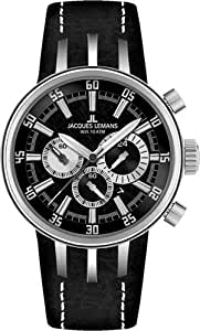 JACQUES LEMANS Nagano 1-1519A - Reloj unisex de cuarzo, correa de piel color plata