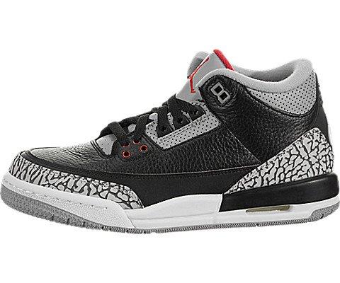 Jordan Air 3 Retro OG Big Kids' Basketball Shoes Black/Fire Red/Cement Grey 854261-001 (7 M US)