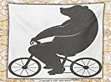 Vintage Decor Fleece Throw Blanket Bear on a Bike Cute Humor Parody Stylized Modern Funny Cycling Hipster Artwork Throw Grey