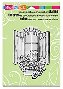 Stampendous CRP301 Cling Stamp, Window Kitty