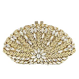 Lanbinxiang @ Luxury Leaf Hollow Metal Double-Sided Crystal Rhinestone Banquet Clutch Bag Ladies Wedding Dress Evening Bag Chain Lady Shoulder Bag Size: 19.5 * 6 * 11.5cm (Color : Gold)