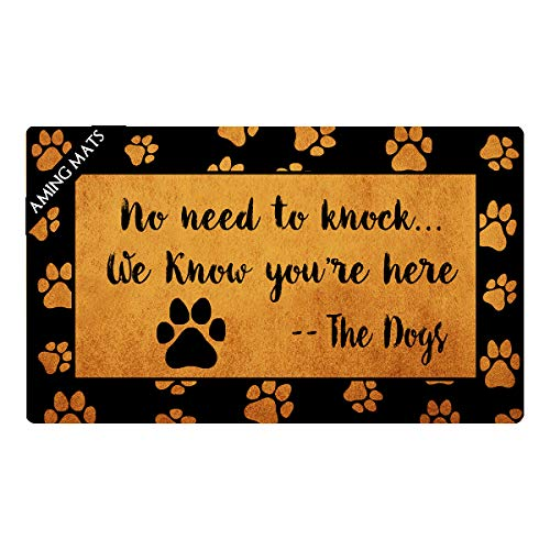 AMING mats Rubber Doormats No Need to Knock We Know You're Here Doormat Dog Theme Colorful Top with Anti-Slip Rubber Back Doormats Festival Gift Door Mats for The Entrance Way 29.5