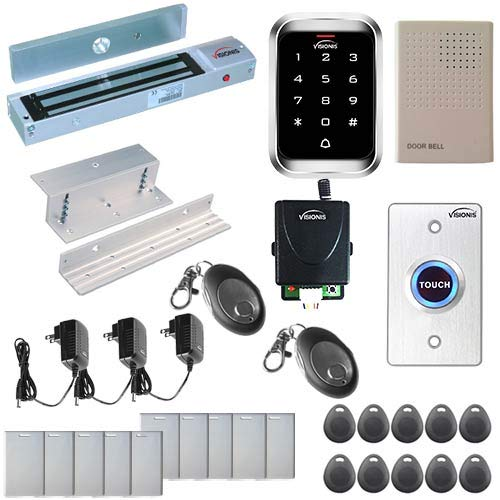 Visionis FPC-5292 One Door Access Control Inswinging Door 600lbs Maglock with VIS-3000 Outdoor IP68 Weatherproof Keypad/Reader Standalone EM Mifare no Software 2000 Users Wireless Receiver Kit